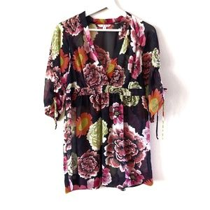 CAbi Sheer Black Floral Empire Waist Tunic